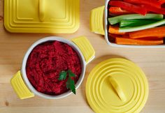 Beet Hummus - A vibrant take on a Mediterranean classic, this unique hummus uses beets to add tangy taste and vivid color. #Canolaoil adds a smooth and light texture to this creamy dip. #CanolaInfo #recipes