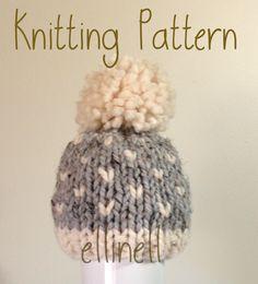 Knit Hat PATTERN - Newborn Baby Toddler Fair Isle Knit Chunky Hat - Pom Pom Hat by ellinell on Etsy https://www.etsy.com/listing/254003204/knit-hat-pattern-newborn-baby-toddler