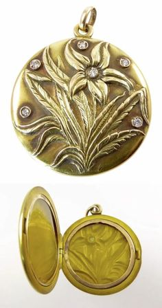 A beautiful antique gold locket from the Art Nouveau era, witha flower and diamonds. From Lisa Kramer Vintage on Ruby Lane. Antique Art, Antique Gold, Antique Jewelry, Vintage Jewelry, Stuart Crystal, Mourning Ring, Gold Locket, Jewelry Show, Lockets