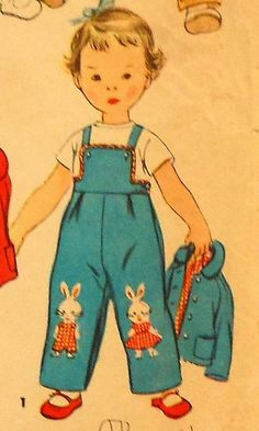 Vintage Toddler Bunny Overalls and Jacket Sewing Pattern