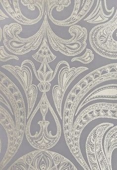 Powder Room Malabar Wallpaper Dark Lilac Grey wallpaper with large metallic silver Paisley design in white.