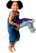 This homemade hobbyhorse is perfect for kids who are rearing to go. Fashioned from a pair of old blue jeans, it requires no sewing. Just gather some string, felt, glue, yarn, polyester filling (available at craft stores), and a 3-foot-long wooden dowel with a 3/4-inch diameter. Then, follow these six steps.