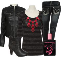 An edgy look inspired by our twentyone black fragrance. *i have this jacket ;)