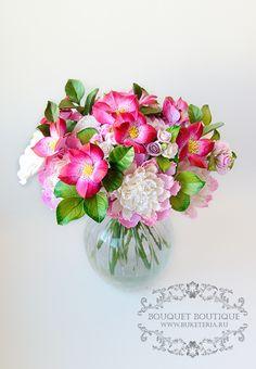 Букет из полимерной глины. цветы из полимерной глины, flowers, bouquet, deco clay