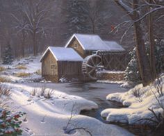 Mountains & Nature - Mark Keathley Closed For The Holidays Canvas - Thomas Kinkade Online Thomas Kinkade Art, Thomas Kinkade Christmas, Kinkade Paintings, Thomas Kincaid, Holiday Canvas, Art Thomas, Christmas Art, Christmas Paintings, Christmas Images