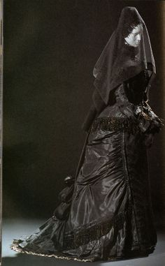 10. Mourning dress (c. 1875) in this period the tradition for wearing black in mourning was extreme and specific, in that one had to wear all black, or full mourning, for a year or more, followed by half mourning and so on