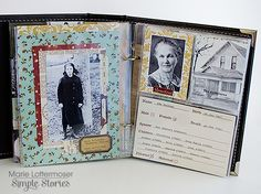 Ancestry album by Marie Lottermoser using Simple Stories Legacy collection.  I love this!