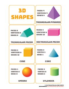 This simple, and colorful 3D shapes word mat or poster can be used to teach kids the names and attributes of various 3D shapes. One page shows seven common 3D shapes, with their proper names, and the corresponding number of faces, vertices, and edges. The other sheet shows just the shapes, 3d Shapes Activities, 3d Shapes Worksheets, Teaching Shapes, Geometry Worksheets, Math Activities, Shape Anchor Chart, Shape Chart, Shapes Worksheet Kindergarten, School Worksheets