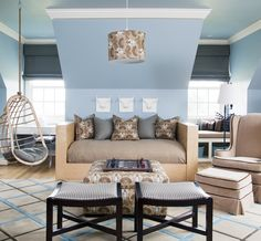 Suzie: At Home in Arkansas - Fun boy's playroom with blue walls paint color, Two's Company ...