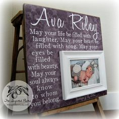Baby Picture Frame Personalized Frames Custom 16x16 MAY YOUR LIFE Baptism First Birthday Gift Godparents New Purple Lavender