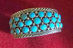 Turquoise Sterling Cuff Bracelet Vintage Pawn by skystones on Etsy