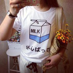 Moda verão Mulheres Japonês Harajuku Macio Bonito Caixa de Leite Impressão soltas Camisetas de Manga Curta Lady Meninas T-shirts T Básico topos
