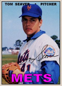 """#12 """"Tom"""" Seaver  pitched from 1967-1986 for four different teams in his career, but is noted primarily for his time with the New York Mets. During a 20-year career, Seaver compiled 311 wins, 3,640 strikeouts, 61 shutouts and a 2.86 earned run average. In 1992, he was inducted into the National Baseball Hall of Fame by the highest percentage ever recorded , and has the only plaque at Cooperstown wearing a New York Mets hat."""