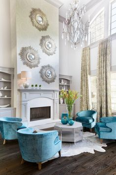 Designed By Marty Mason, This Living Room Features Our Go Go Chairs.  Transitional