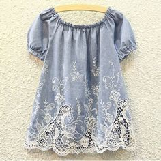 Cute Round Collar Short Sleeve Lace Design Hollow Out Embroidered Women's Blouse Blouses | RoseGal.com Mobile