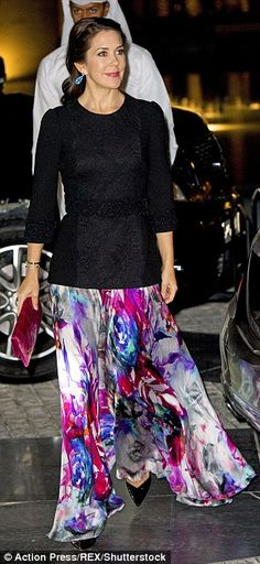 Glamorous evening: For the occasion, the 44-year-old princess donned a watercolour print skirt and black top