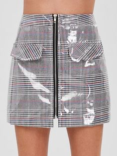 bccf07a8a3 [45% OFF] 2019 ZAFUL Faux Pockets Zip Front Plaid Skirt In MULTI