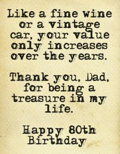 80th Birthday Wish for Dad