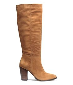 Knee high, high-heeled, suede boots with concealed elasticated top & rubber soles. | H&M Shoes