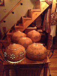 Bushel basket gourd lamps in the making