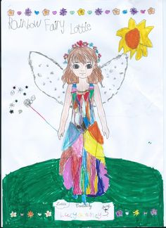 Lottie Outfit Design! Here we have a colourful and imaginative 'Rainbow Fairy' created by Lucy (age 5) from Ireland. Thank you to Mum, Jillian for sending this our way! Send yours to create@lottie.com