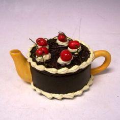 Chocolate cake mini teapot more black forests chocolates cake coffee