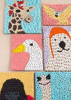 BEAN ART ANIMALS INSPIRED BY DOLITTLE : Make these modern and colorful bean art mosaics of all your favorite animal characters from Dolittle, in theaters Jan Create colorful mosaics of all your favorite characters from the new movie Dolittle! Animal Art Projects, Animal Crafts, Diy Art Projects, Preschool Crafts, Diy Crafts For Kids, Craft Projects For Kids, Classe D'art, Seed Art, Art Activities For Kids