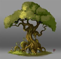 Concept Art. Tree 003, Raki Martinez on ArtStation at https://www.artstation.com/artwork/BvYmr