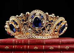 French Antique Gilt Brass Crown with Blue Jeweled Crystals, Circa 1850