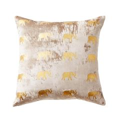 """Meru"" Velvet Pillow with Elephants by Thurston Reed (Taupe, 22x22) from Trellis Home"