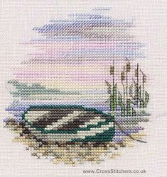 Beach, Seaside, Rivers & Lakes - Rowing Boat - Minuets - Cross Stitch Kit from Derwentwater Designs Cross Stitch Sea, Small Cross Stitch, Cute Cross Stitch, Cross Stitch Cards, Beaded Cross Stitch, Counted Cross Stitch Kits, Cross Stitch Designs, Cross Stitch Embroidery, Embroidery Patterns