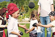Cannonball toss (black water balloons) for a game at the pirate party! I hope the weather cooperates. Pirate Kids, Pirate Day, Pirate Birthday, Pirate Theme, Pirate Party Games, Birthday Party Games, 4th Birthday Parties, Pirate Activities, 7th Birthday