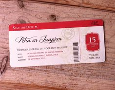 Save the date vintage plane ticket