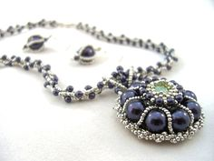 Pearl Pendant and Earrings Set  Beaded by ChristmasCreation, $180.00