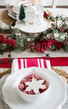 Farmhouse inspired Christmas Tablescape