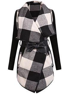 Sheinside® Damen Mantel Langarm mit Karo, schwarz-weiß (M, schwarz) Sheinside http://www.amazon.de/dp/B00T40HTGK/ref=cm_sw_r_pi_dp_18Xevb03PBH17