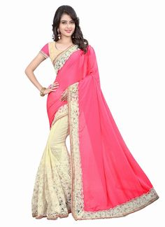 Fashionable Pink Lycra Designer Saree