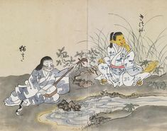 Nekomata (猫また) cat demon plays the shamisen next to a kitsune (狐) fox spirit.
