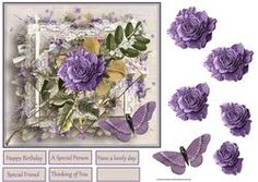 Purple Rose And Butterfly 7x7 Card