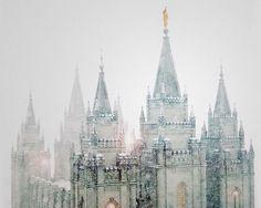 Salt Lake Temple in the snow & fog