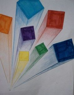 Great idea for an art lesson to cover: color, shading, shape, perspectiva & composition all in 1 lesson. Middle School Art, Art School, High School, Perspective Art, Perspective Drawing One Point, Atelier D Art, 6th Grade Art, Ecole Art, Shape Art
