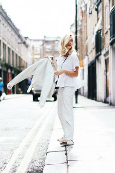 Sarah Mikaela's clean and crisp staple color stimulates a sense of ease and freshness.  Try a head-to-toe white look. // #Fashion
