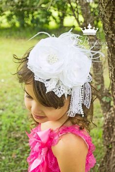 White Silk and Lace Couture Headband Bridal by LaBandeauxBowtique