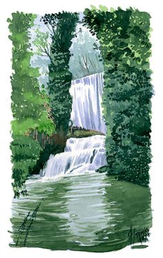 Watercolor, acuarela, paisaje Cute Cottage, Creative Colour, Art Drawings Sketches, Colorful Drawings, Asana, Stress Free, Watercolor Paintings, Waterfall, Landscapes