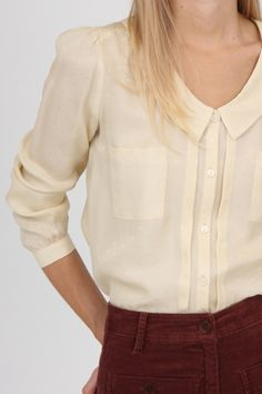 Neutral Blouse with Peter Pan Collar & 3/4 Length Sleeves, Rust High-Rise Jeans // different