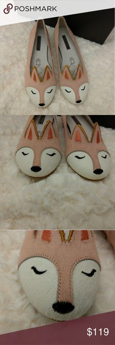 Pony hair leather fox flats Anthropologie style So cute I couldn't resist! I bought 2 pairs in Japan and wore one. Anthropologie sales associates wanted to know where I bought them! Exterior is pony hair and interior is leather. Non slip rubber soles. Orange fox is not for sale. I love my flats so much that I take them out on special occasions but I am out of space so letting the pink pair go! Please note that I cannot find the name of the brand in Postmark so am listing under Anthropologie…