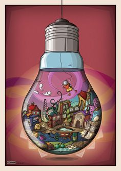 world in a lightbulb:sketch idea (painting 1 idea to get them to think outside of the shape of the paper or canvas and it teaches them reflection along with distortion)