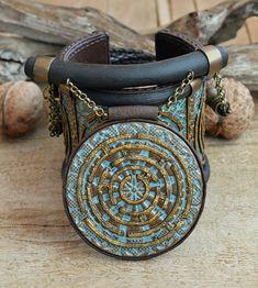 Polymer clay jewelry set Wide bracelet by HandmadeByAleksanta