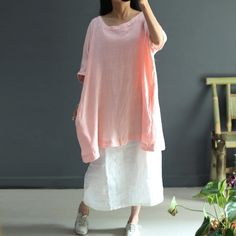Women  Summer loose cotton linen shirt