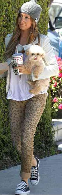 Who made Ashley Tisdale's black sneakers and leopard gray jeans that she wore in Studio City?